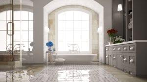 high end bathroom with radiant heat